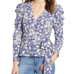 Astr the label puff sleeve floral wrap top / small